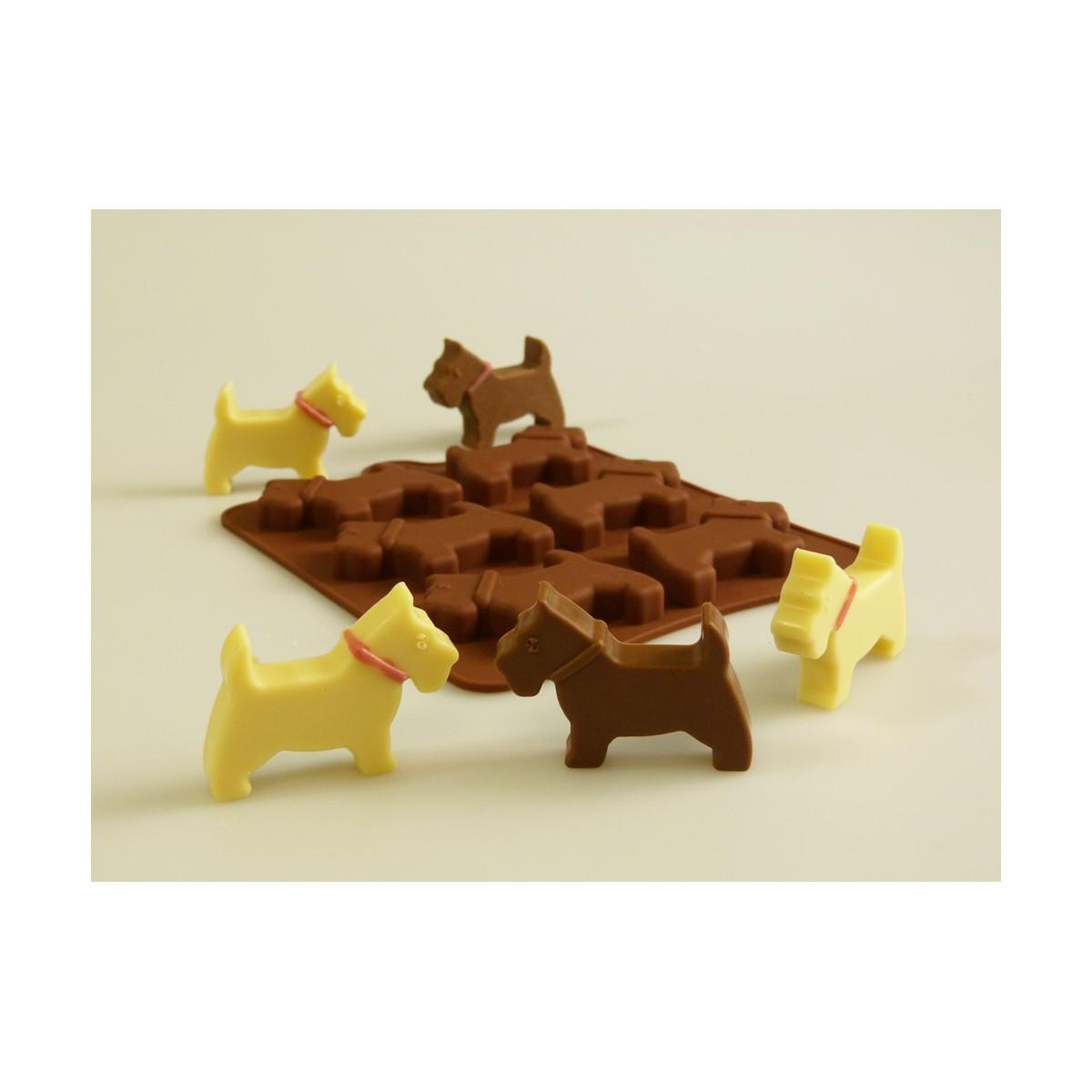 Moule en silicone Petits chiens (Terriers écossais)