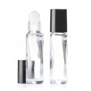 Mini roller verre clair bouchon noir 10ml
