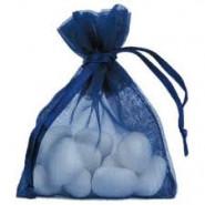 Lot de 10 sacs en organdi bleu marine