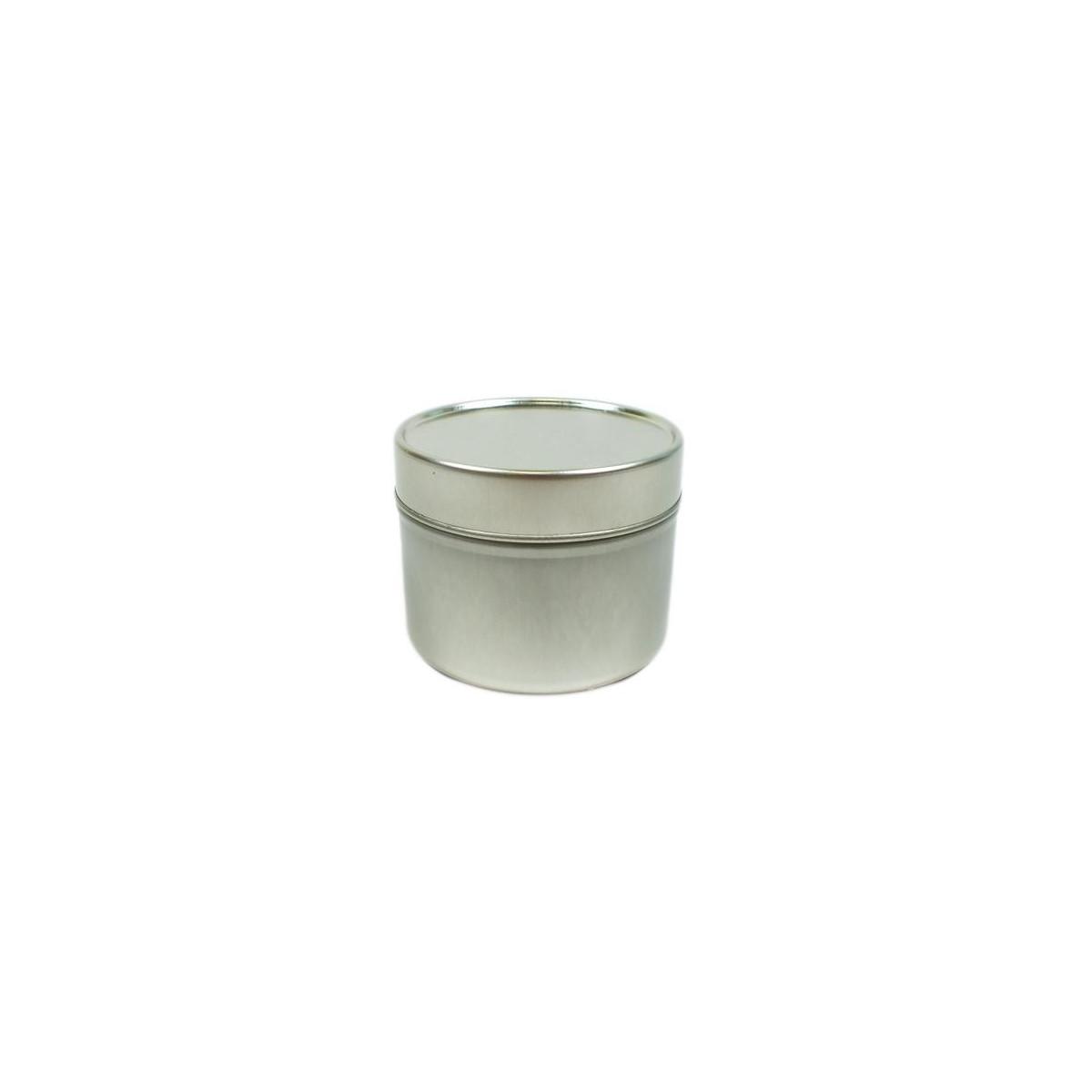Boîte ronde en aluminium argenté 100ml